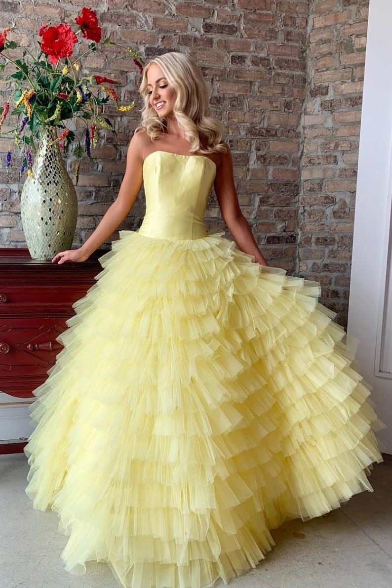 a298b77fbf5d Yellow Strapless Tiered Tulle Prom Dress,Sweet 16 Dress,Yellow Ball Gowns  on Storenvy