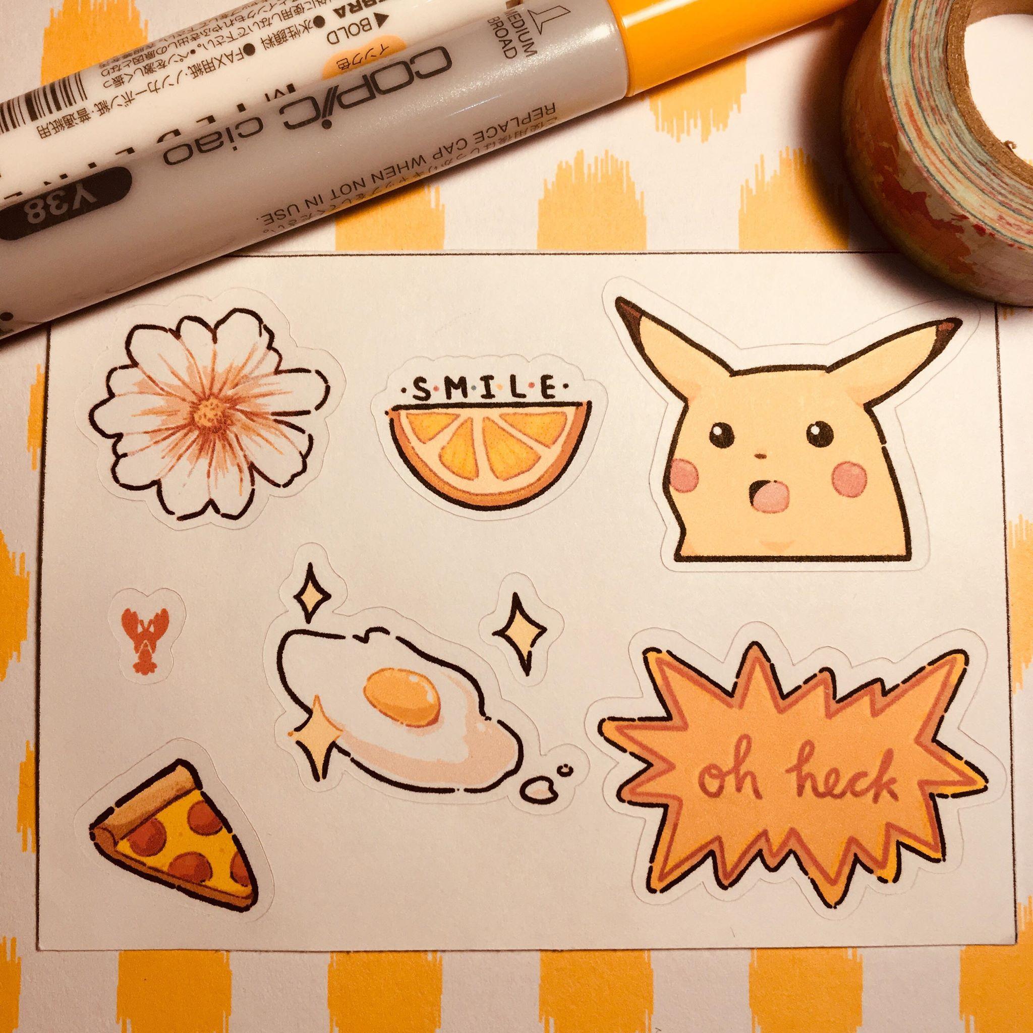 Orange Aesthetic Sticker Set From ˏˋlobbopaloozaˎˊ