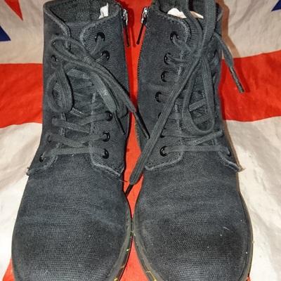 b9239713a3b3 Kids marley - black canvas childrens dr doc martens boots - vegan - grunge  punk -