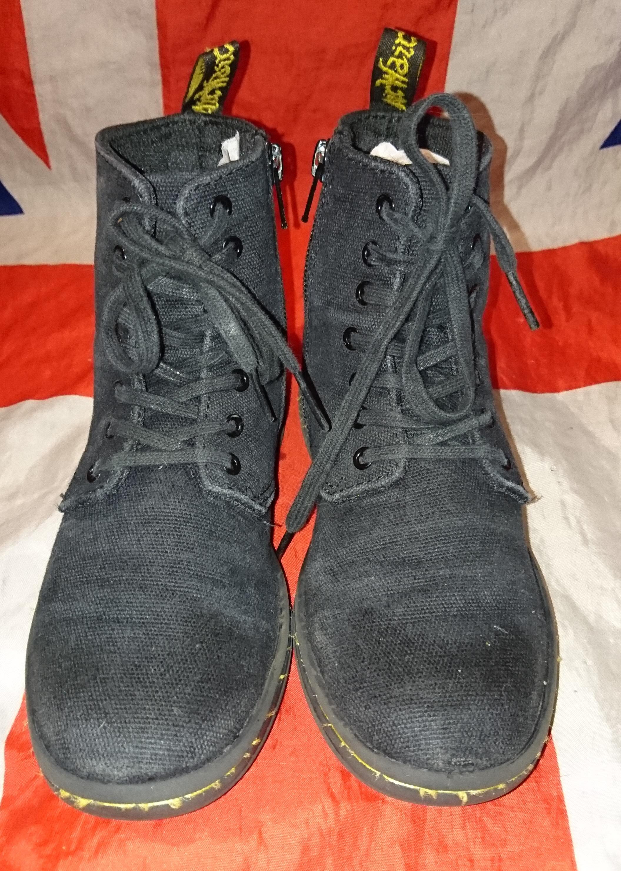 Kids Marley Black Canvas Childrens Dr Doc Martens Boots Vegan Grunge Punk UK 13 from Digital Docs