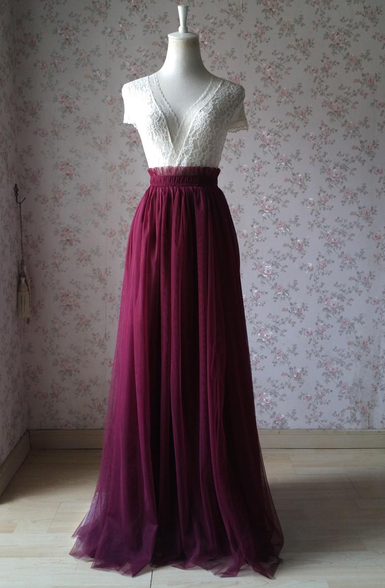 1df63b4315 Women Burgundy Wine Red Floor Length Tulle Skirt Burgundy Wedding Maxi Skirt  Bridesmaid Tulle Skirt Plus