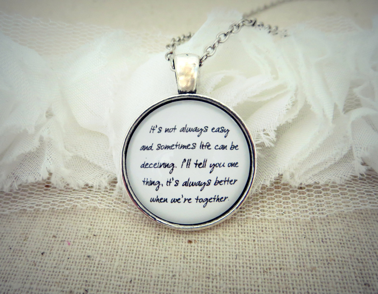 It S Always Better When Were Together Handcrafted Pendant Necklace 18 Inches Sold By Indieetc On Storenvy