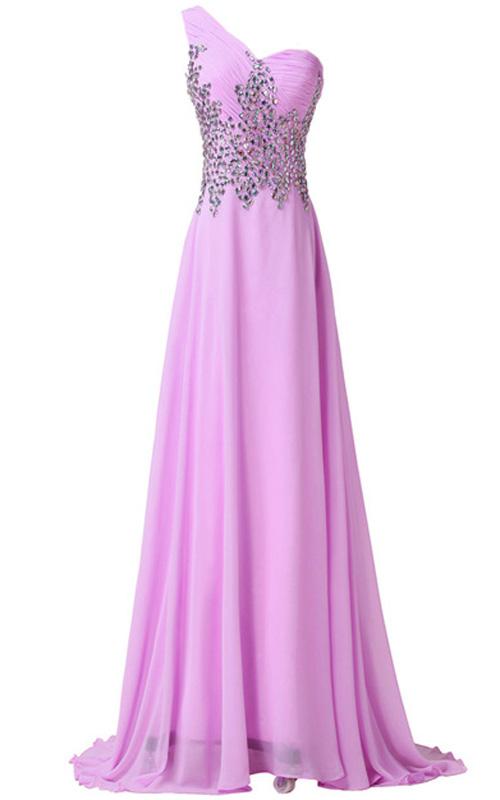 cbd6b64669 Pink Beading Crystal Sequined Pleated Floor Length Chiffon One Shoulder  Sleeveless Long Prom Dress
