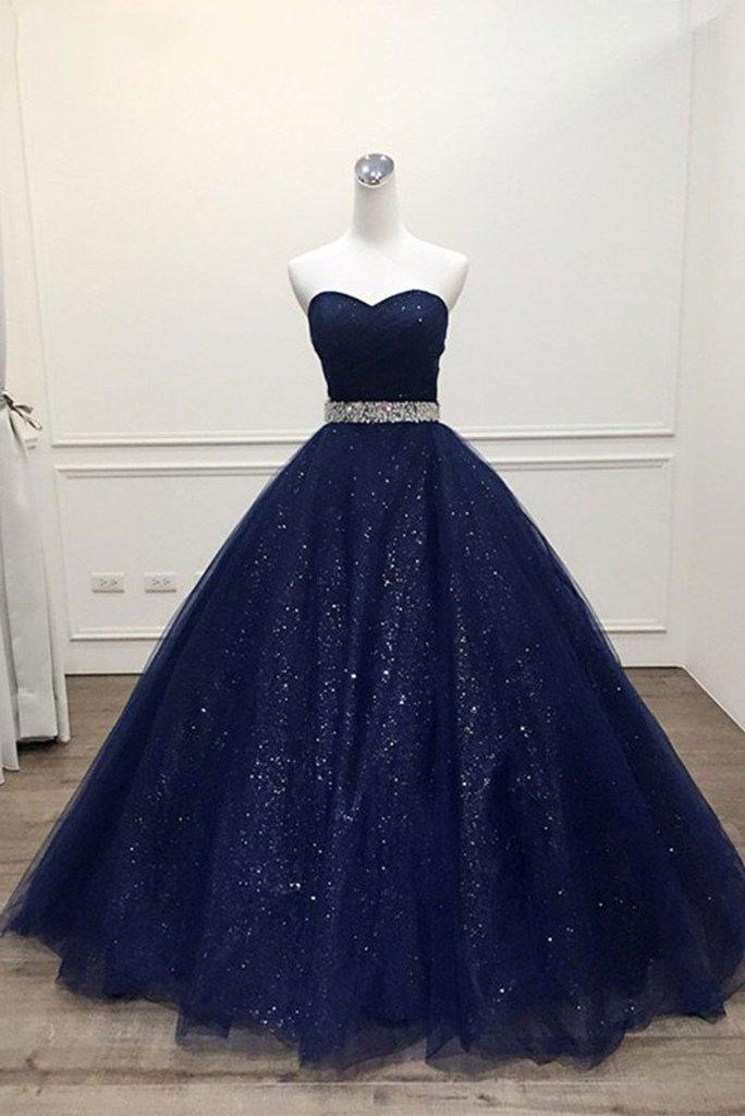 baa9faf0f48b0 Stunning Navy Blue Tulle Strapless Long Sequins Prom Dress, Evening Dress