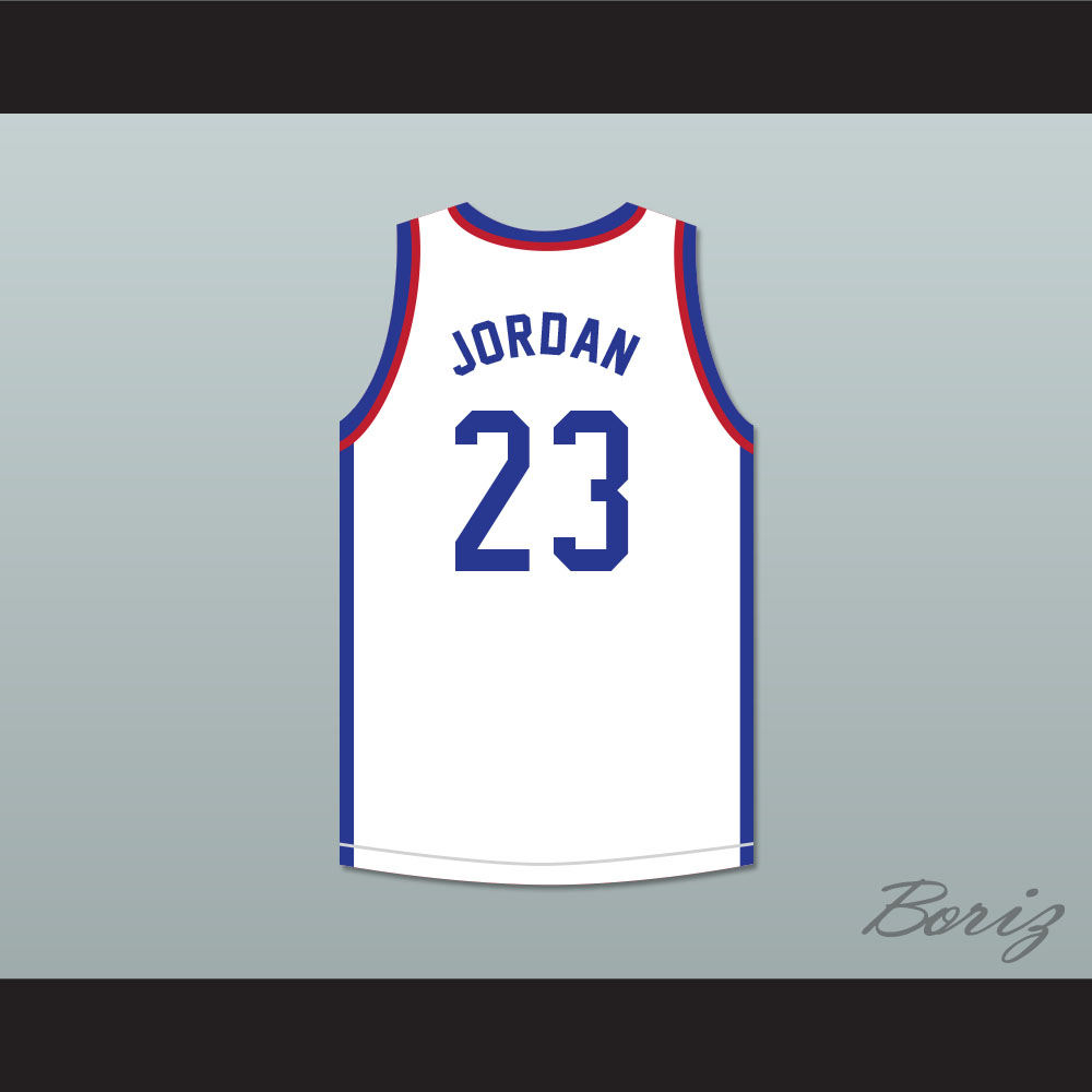 3955a3a0c78 Michael Jordan 23 Larry's Game White Basketball Jersey 1988 Charity Event -  Thumbnail ...