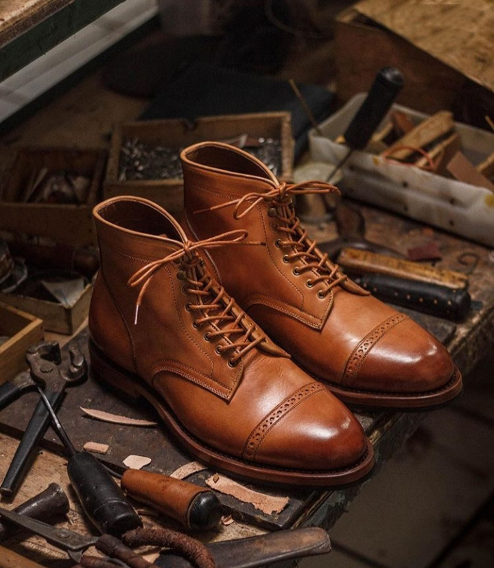 Brown Leather Cap Toe Lace Up