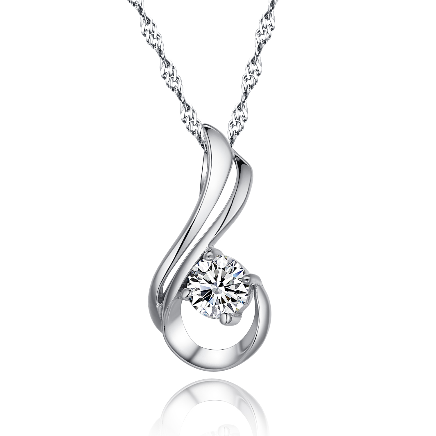 Genuine 100 925 sterling silver pendant necklace paved cubic love at first sight 925 sterling silver paved diamond pendant necklace 20 silver singapore chain with mozeypictures Images