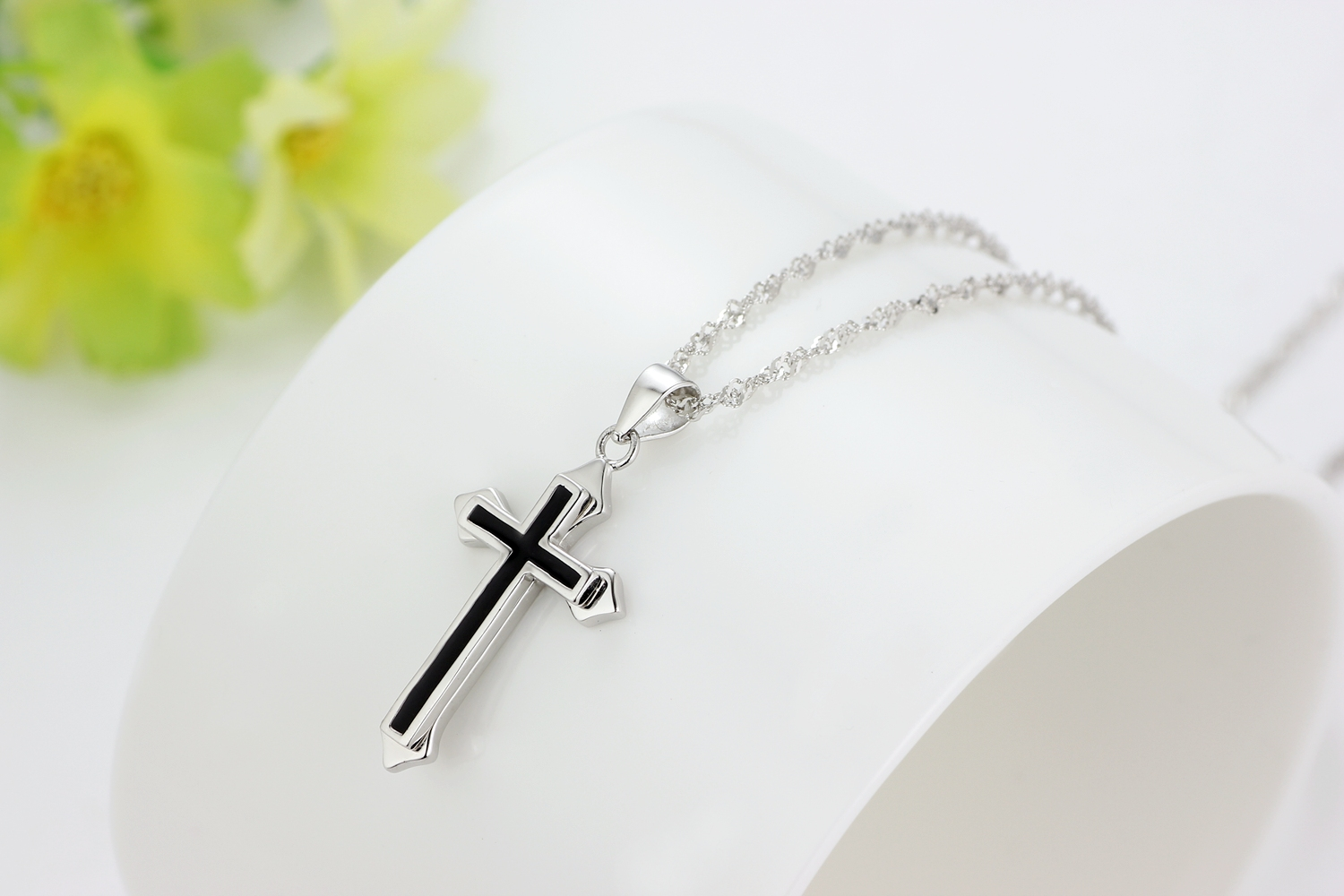 Sterling 925 silver cross pendant necklace jewelry set with black 3 small aloadofball Choice Image