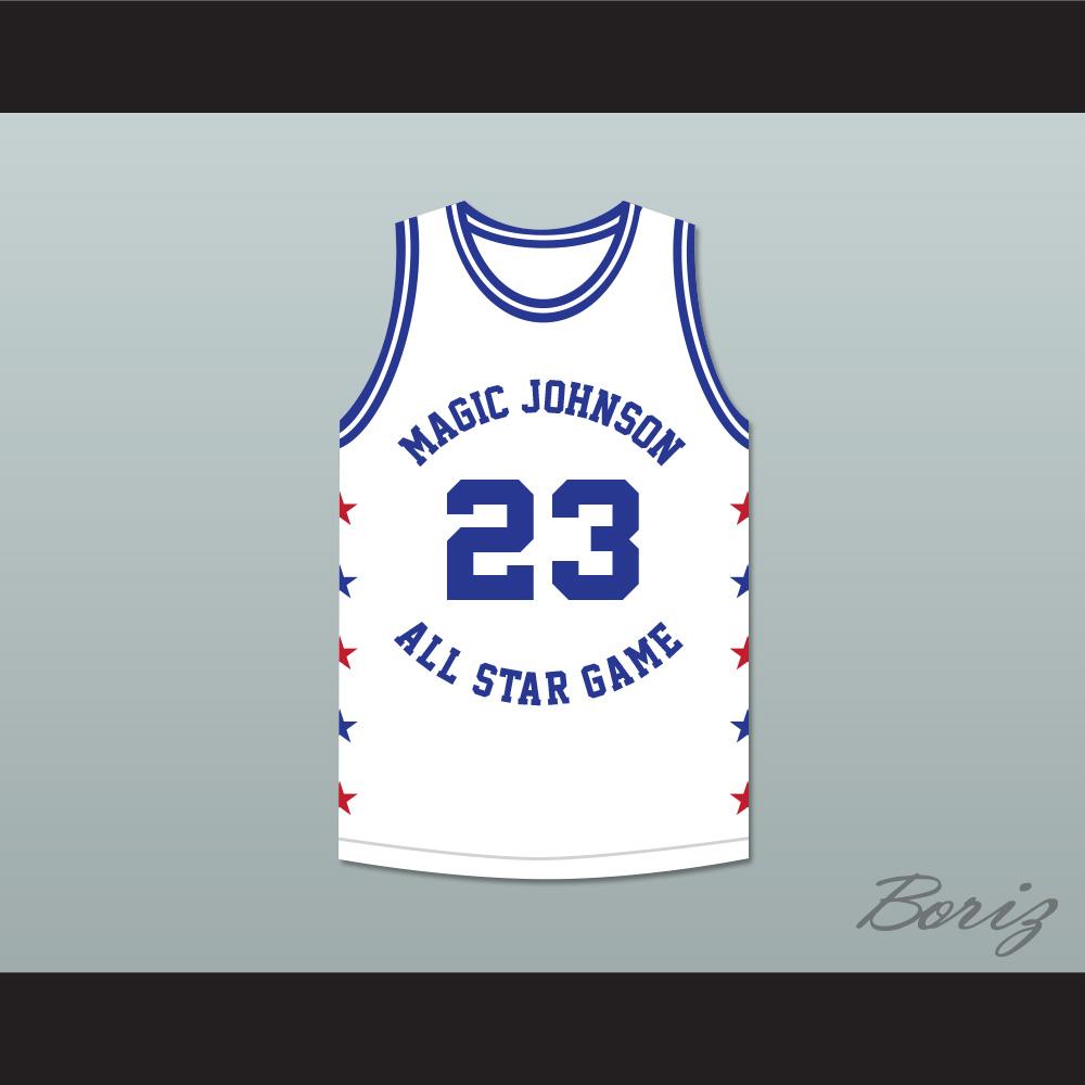 91e18a8922d Michael Jordan 23 Magic Johnson All Star Game White Basketball Jersey 1989  Midsummer Night's Magic Charity