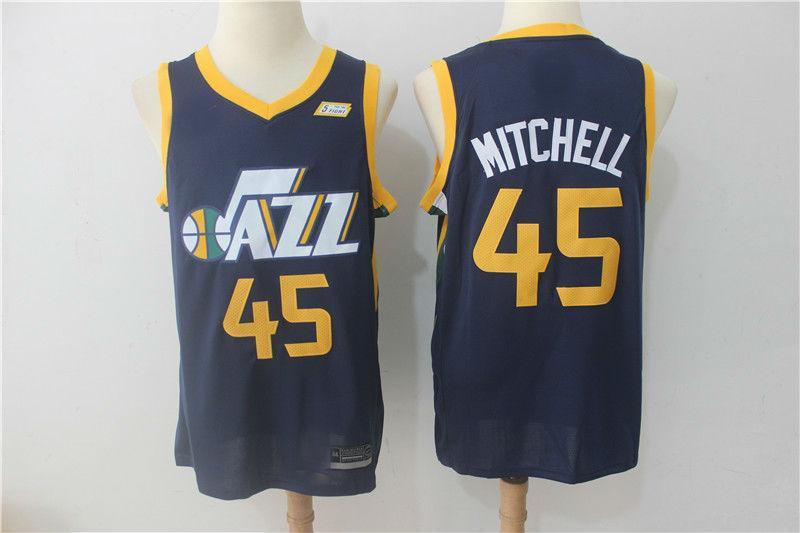 987909b9a6f 2017-18 Utah Jazz  45 Donovan Mitchell Basketball Jersey Blue ...