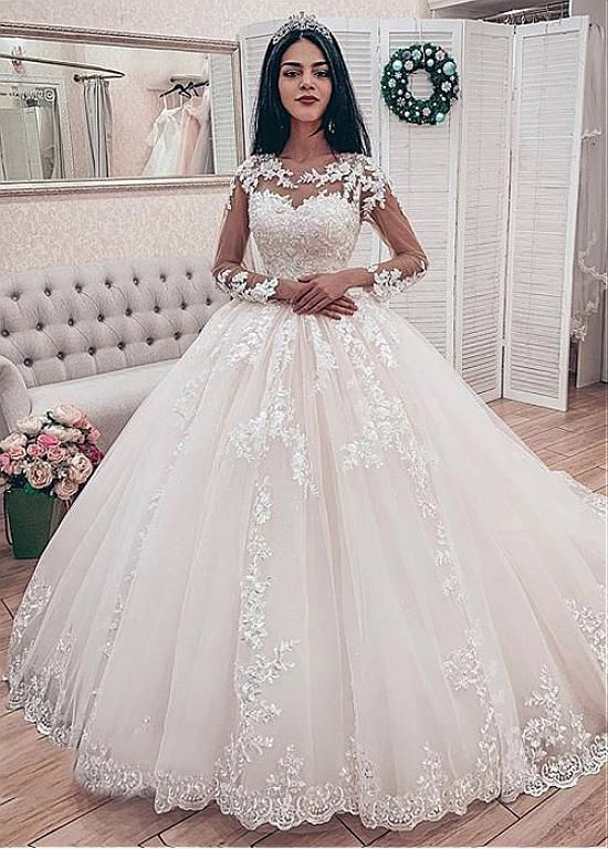 Gorgeous Ball Gown Round Neck Long Sleeve White Tulle Wedding Dresses With Appliques Dressmeet Online Store Powered By Storenvy