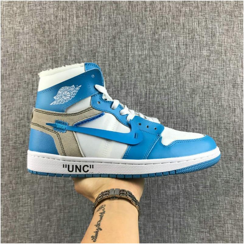 on sale dd482 554c2 OFF WHITE x Air Jordan 1 UNC White University Blue AQ0818 148 Basketball  Shoe from BELLDRESS