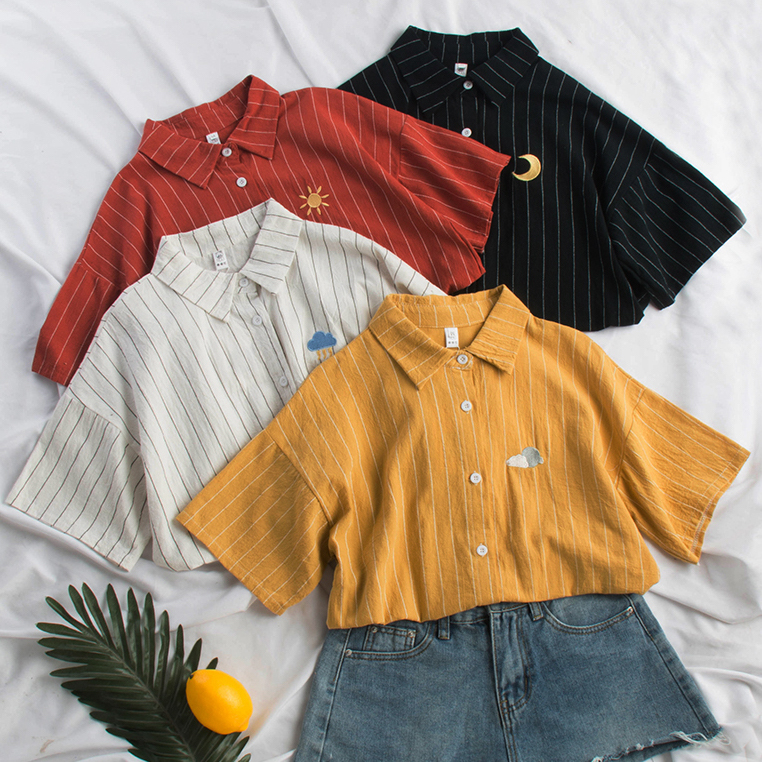 1c3faaaf Embroidered Stripe Button Up Shirt (4 Colors) · Megoosta Fashion ...