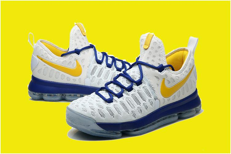 """detailing 66453 229f8 2016 Nike KD 9 """"Golden State Warriors"""" White Blue Yellow For Sale from  BELLDRESS"""