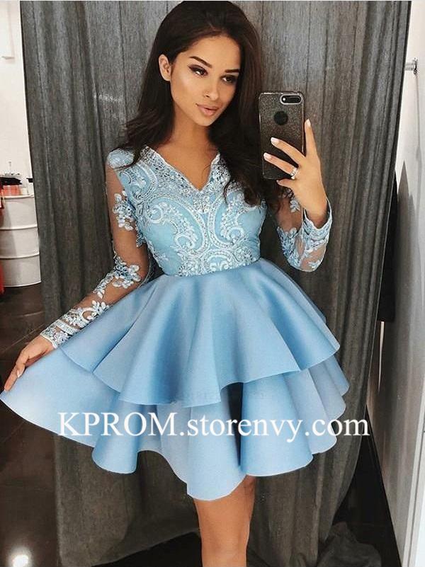 Vintage long sleeve short prom dresses,Lace Semi Formal