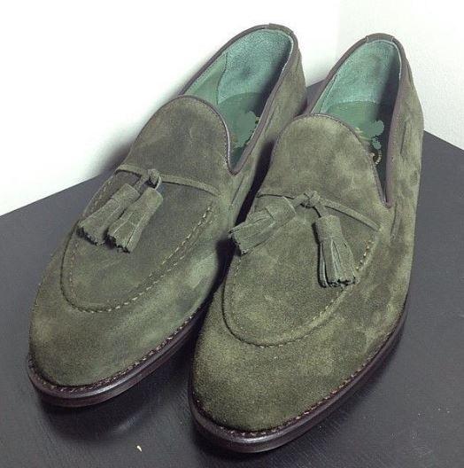 Handmade Men's Green suede loafers, men
