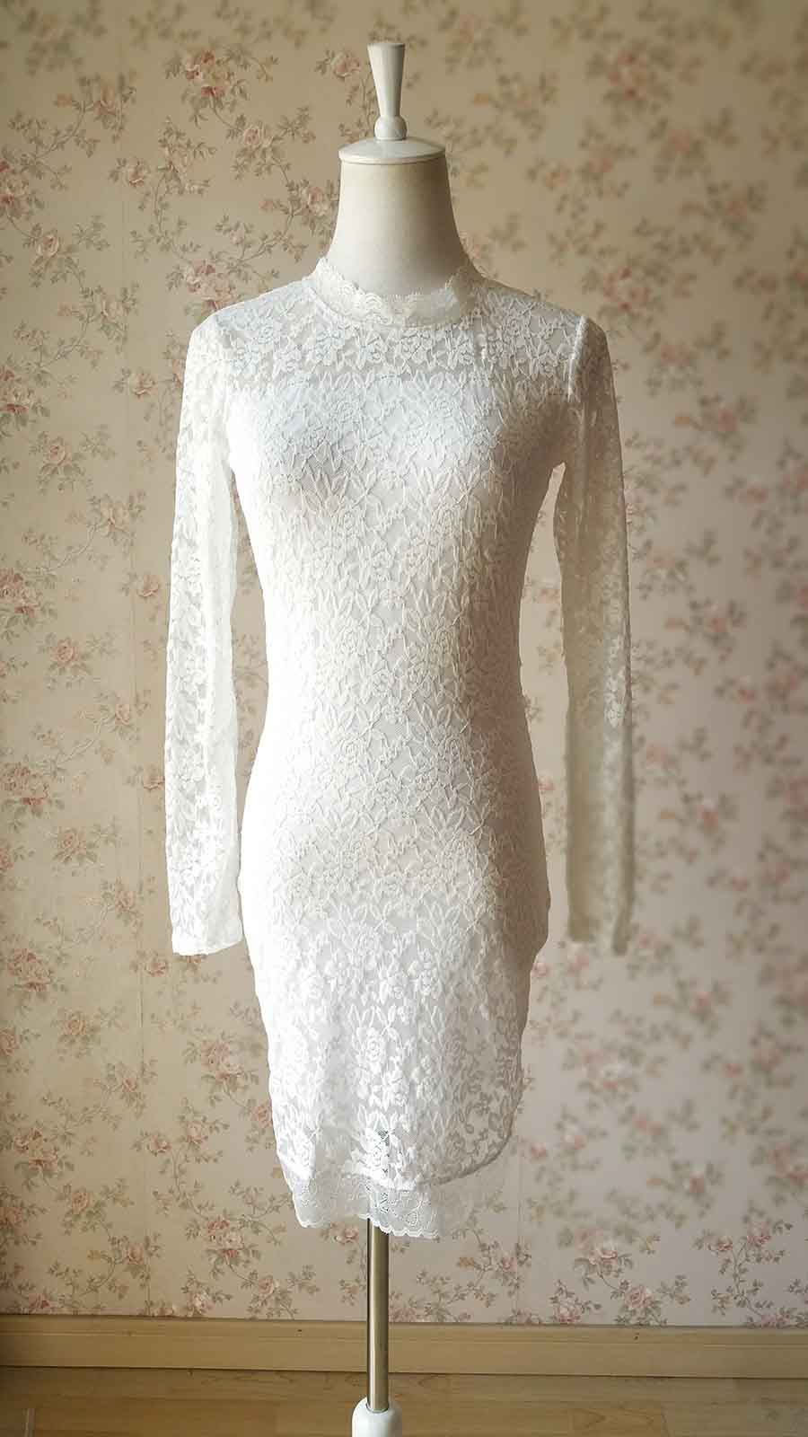 Ivory White Long Sleeve Fitted Mini Lace Dress Women Lace Mini Formal Dress Simple Wedding Dress Custom Plus Size Retro Style Sold By Dressromantic