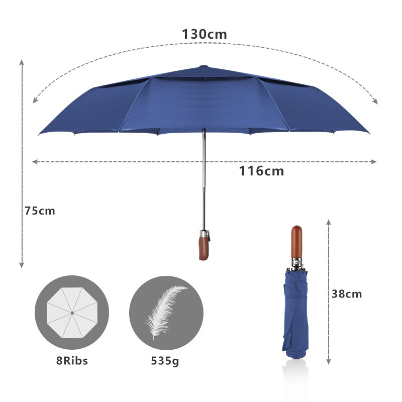 d509d1e5ff78 Creative Automatic Double Honorable style Handle Solid Large Women layer  Men Umbrella Umbrella Business Fashion Wood