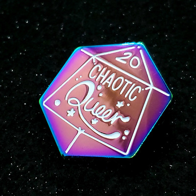 Rainbow Chaotic Queer D20 Pins
