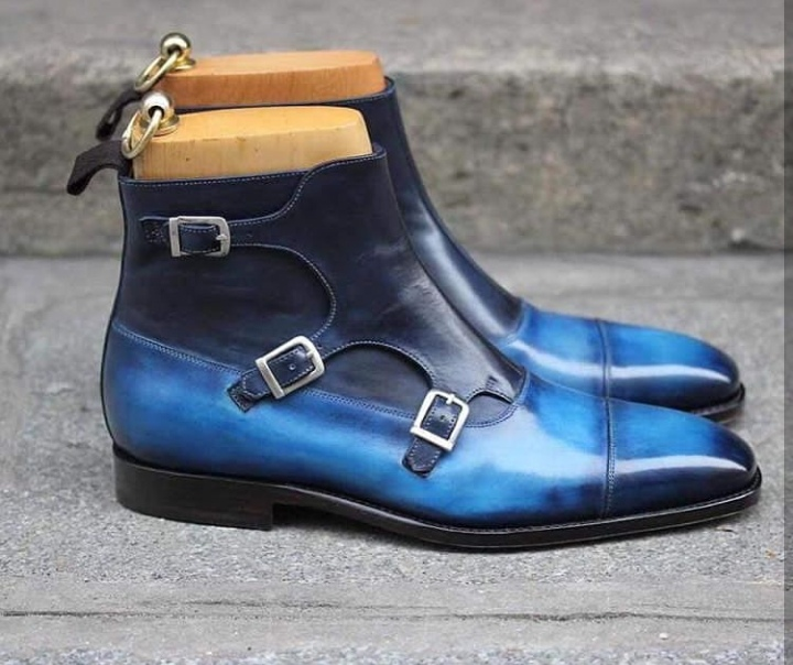 23b6052a717 Handmade 2 Tone Blue Leather Buckle Boot, Men's Triple Monk Strap ...
