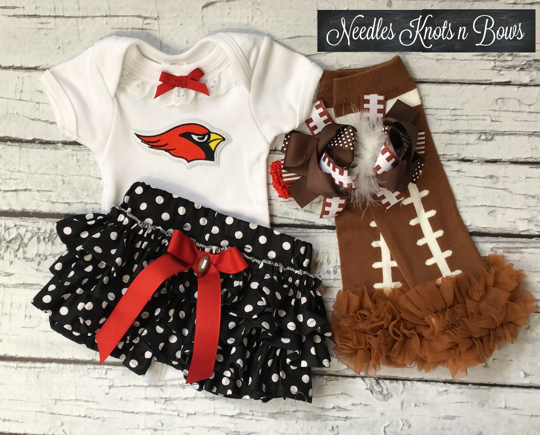huge selection of 7f1e8 e302d Arizona Cardinals Cheerleader Outfit, Girls Cardinals Coming Home Outfit,  Cardinals Baby Shower Gift, Toddlers, Newborn to size 4 from Needles Knots  n ...