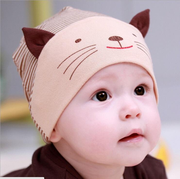 f257d1ff8 For Cotton Hats,boy Baby Cute Cat Cap Beanie Old Ear Bebes Striped Caps  Kids Bonnet Girls 1-3years Design Born