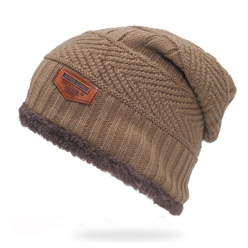 46ab5646e Plus Beanies Men Velvet Hats Cap Windproof Knitted Skullies Black Casual  Fashion Stocking Women Male Winter Hat Warm
