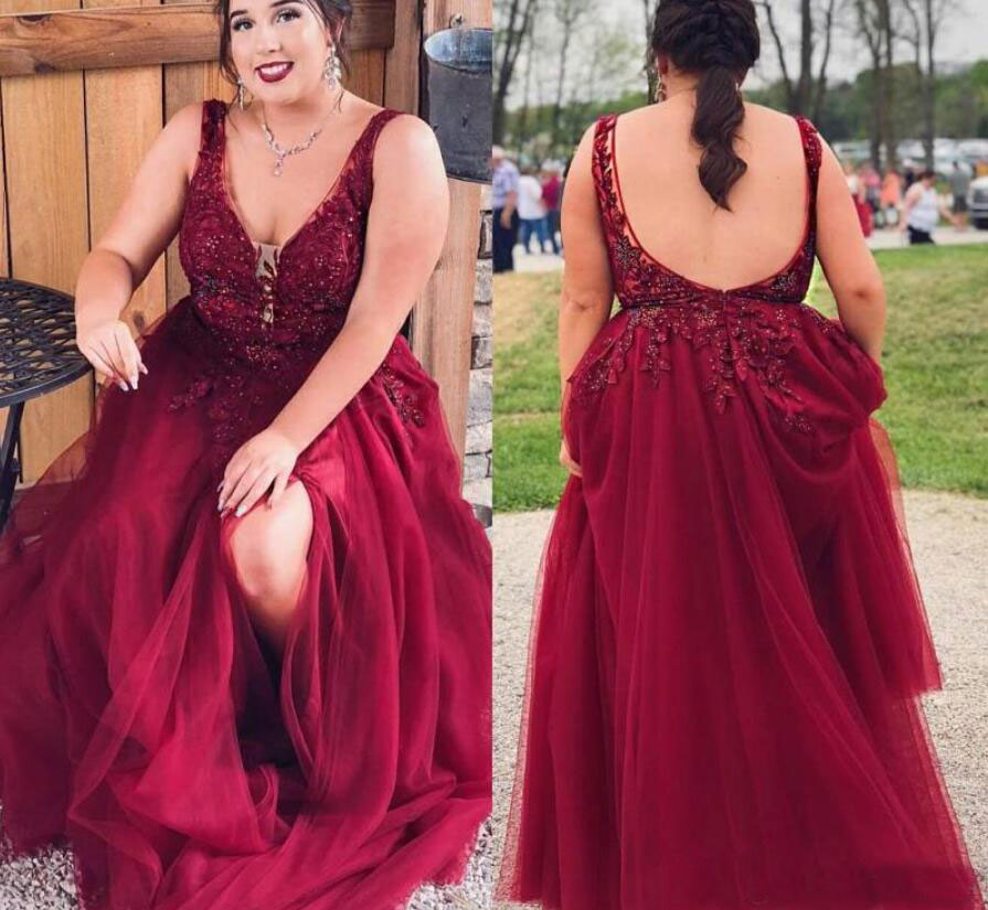 Plus Size V Neck Dark Red Prom Dresses with Appliques Lace from dressydances