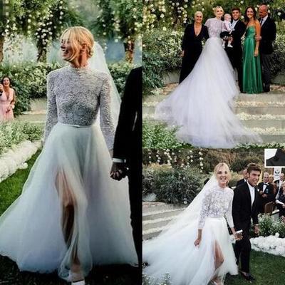 d8728c5806de beach boho lace top a line wedding dresses high neck tulle skirt split  sides country style