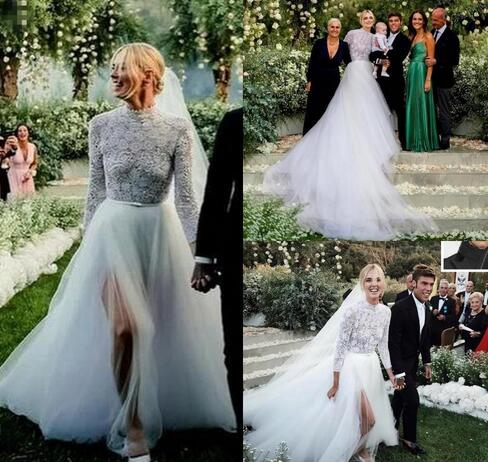 Beach Boho Lace Top A Line Wedding Dresses High Neck Tulle Skirt Split  Sides Country Style Cheap Plus Size Wedding Gowns from MissZhu Bridal