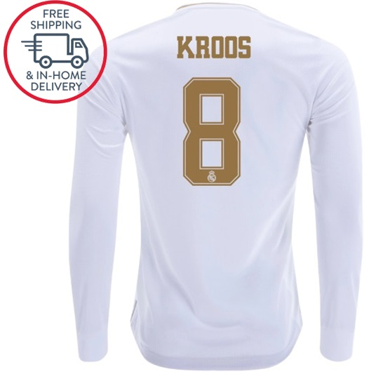 half off e6181 81915 Toni Kroos #8 Real Madrid Long Sleeve Home Men Jersey 19 20 Shirts White  from isacctex