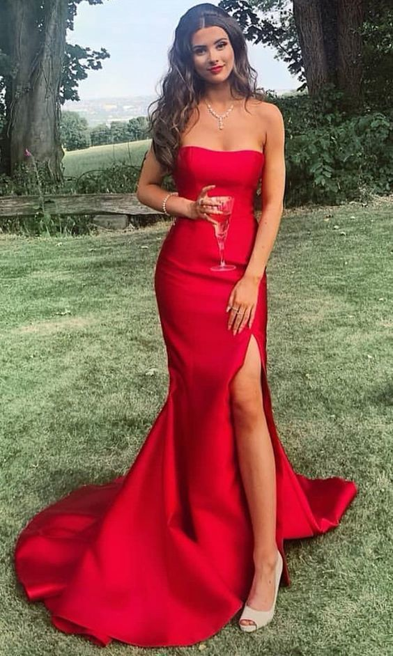 Charming Mermaid Strapless Zipper Back Red Satin Long Prom Dresses with  Side Slit,Formal Party Dresses sold by Dressmeet