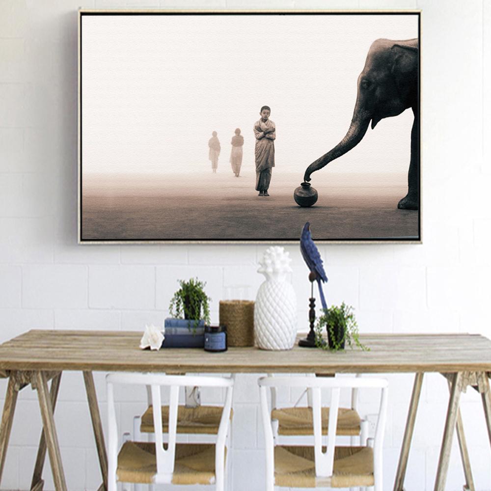 Modern Elephant Wall Art Print Zen Mediation Living Room On Canvas Wall Decor Me Z2000 From Belladonna Home Decor