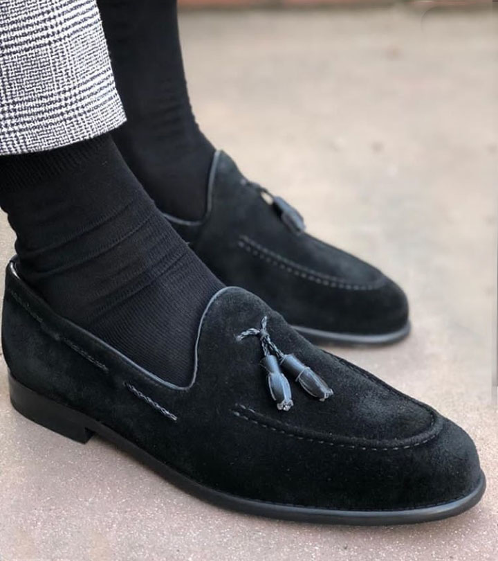 New Mens Suede Leather Dress Formal Shoes Slip On Loafers Black color fashion