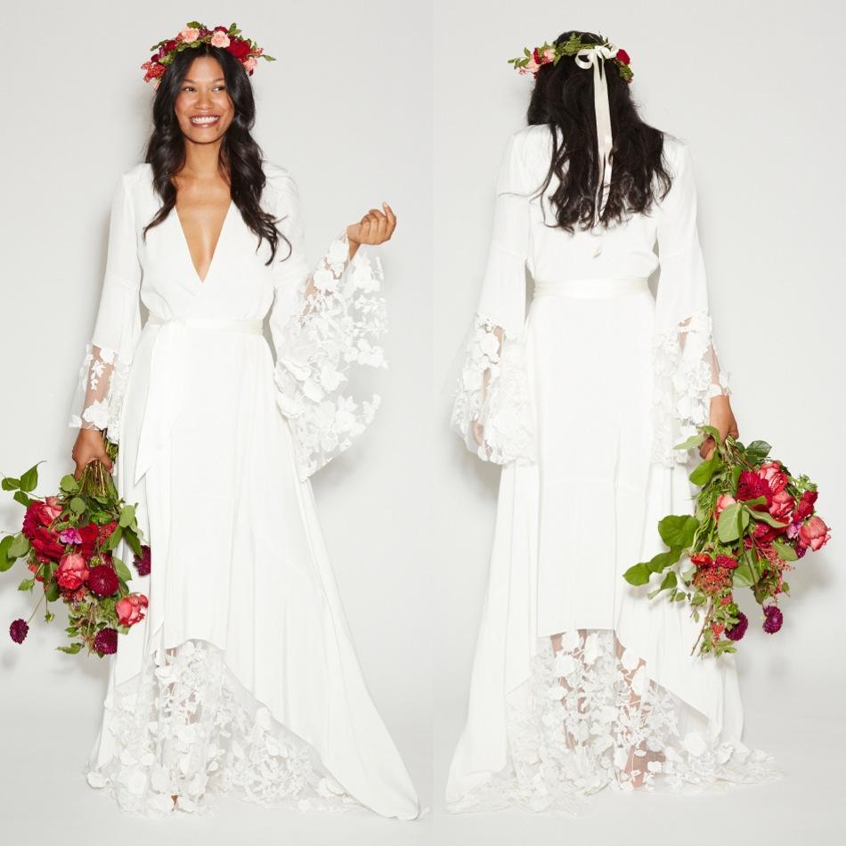 Summer Beach BOHO Wedding Dresses, Bohemian Beach Hippie Style Bridal Gowns  with Long Sleeves Lace Flower Custom Plus Size,351