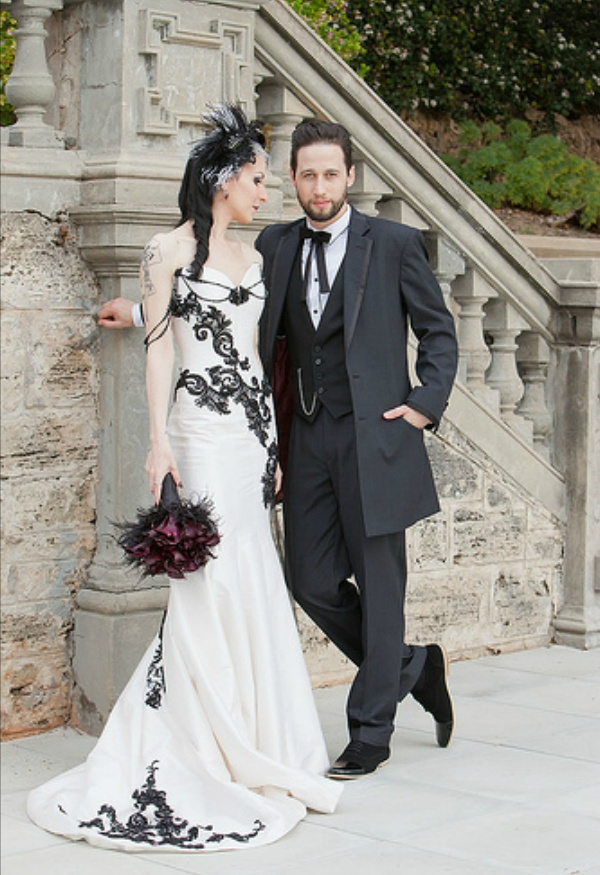 Gothic Wedding Dresses Mermaid Corset Bridal Gown Beaded With Black Lace Applique Sold By Bridesdayprom