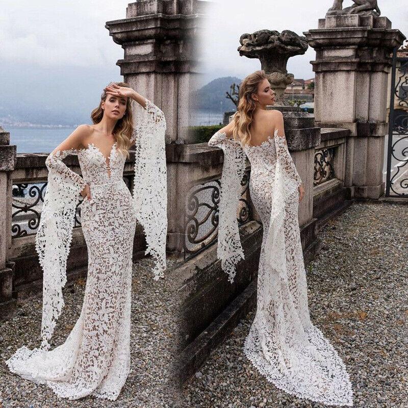 Alysion Lace Beach Boho Long Sleeve Mermaid Wedding Dress From Curvy Brides