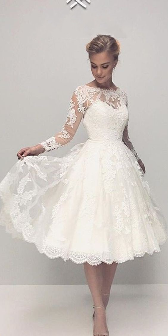 Tea Length Long Sleeve Lace Wedding Dressinformal Modest Short Wedding Dress From Sancta Sophia