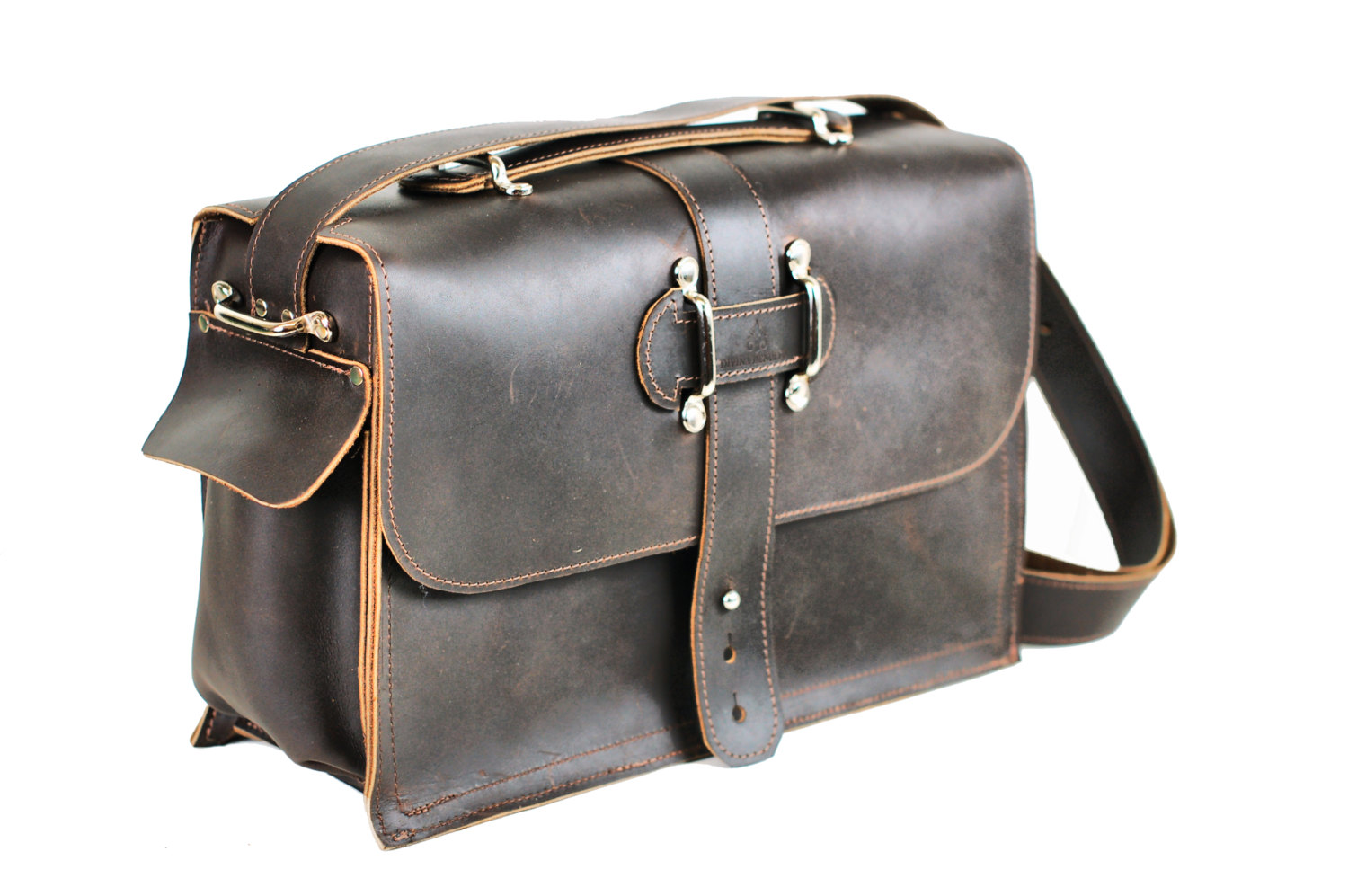 b796fec29c3b Men's Leather Satchel - Leather Messenger Bag - Leather Laptop Bag - Rustic  Industrial Design