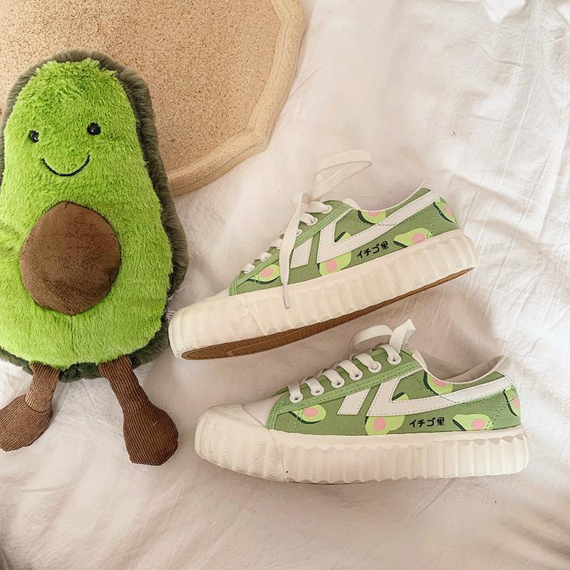 90s Kawaii Avocado Canvas Cute Sneakers