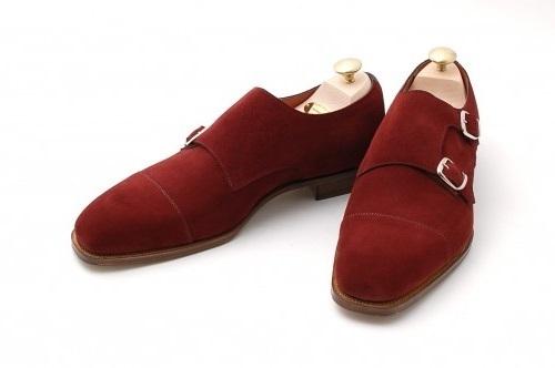 Burgundy Formal Monk Shoes, Men