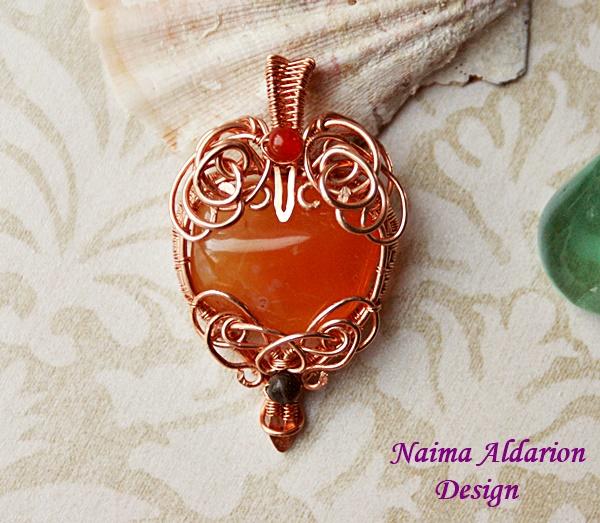 Wire Wrapped Carnelian Pendant Carnelian Heart Necklace