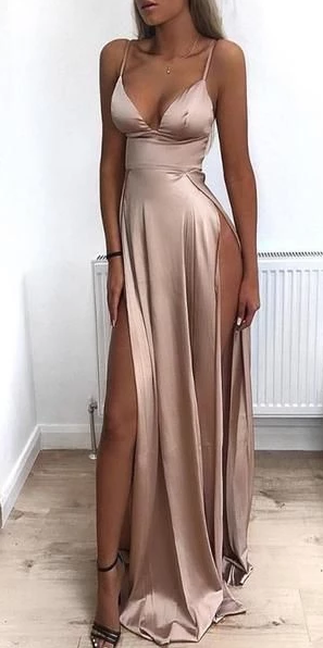 Spaghetti Straps Modest Sexy Prom Dresses With Side Split 2020