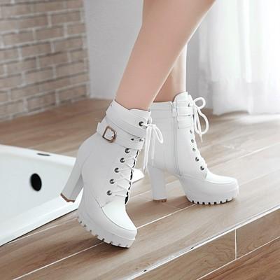 Martin boots 2020 new thick heel high heel women winter plus velvet short boots d3574