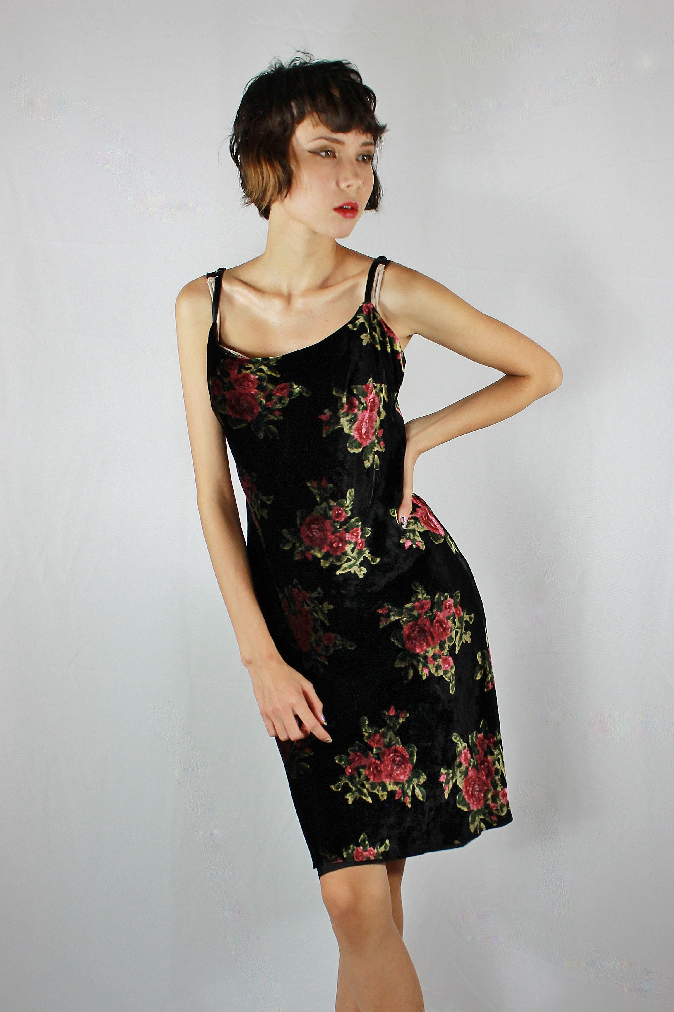0436d523a88 80 s Velvet Evening Gown By Mica   Vintage black velvet floral rose ...