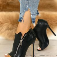 Side Zipper Ankle Boots Women's Super High Heel Large Size Fish Mouth Single Shoes G9524 - Thumbnail 2