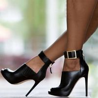 2020 New Black Fish Mouth High Heel Sandals - Thumbnail 1