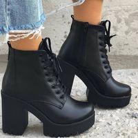 Winter Black New Martin Boots Women Plus Velvet Boots Thick Heel High Heel Women's Shoes Short Boots Hot F6752 - Thumbnail 3