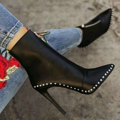 Black elegant womens boots ankle short super high solid vintage boots f6852