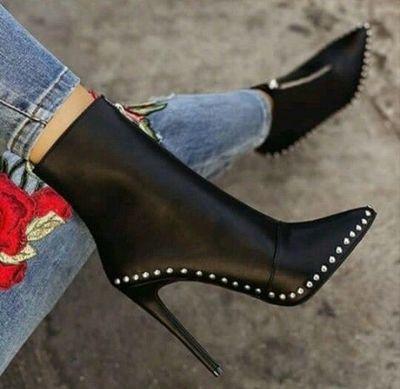 Black Elegant Womens Boots Ankle Short Super High Solid Vintage Boots F6852